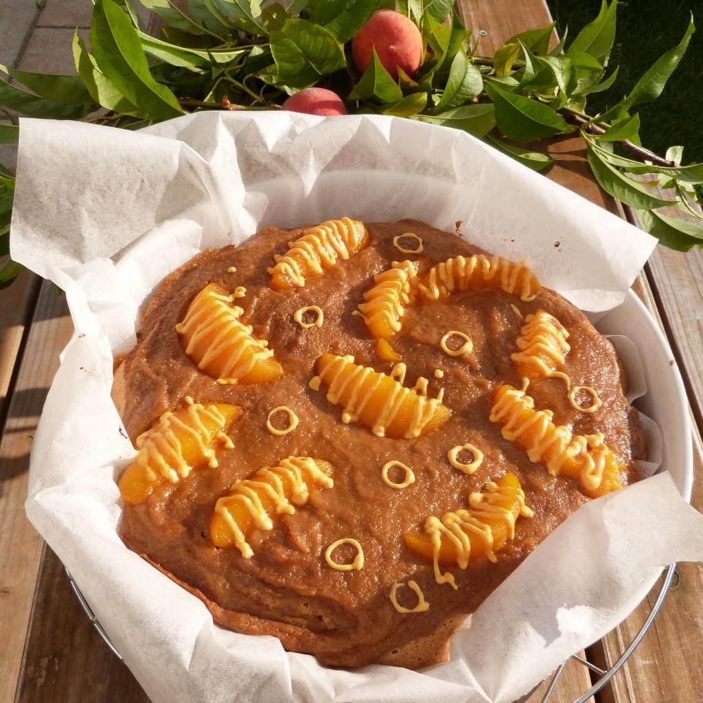 Eiweißkuchen mit Pfirsichcurd