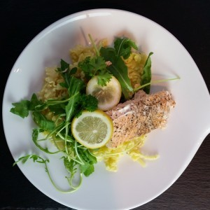 Nudeln Rucola Lachs