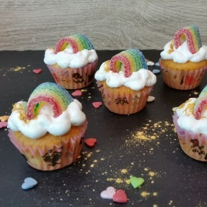 Regenboen-Cupcakes