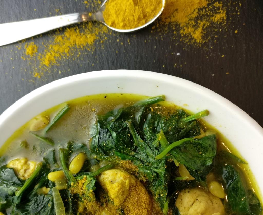 Curry Hähnchen Spinat